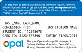 Tertiary Transport Concession Entitlement Card